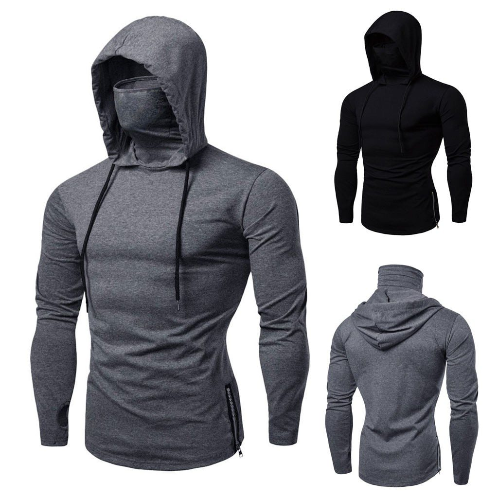 Mens Mask Button Sports Hooded Sweatshirts